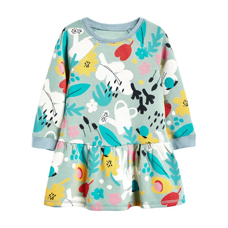 Girls' Dress  Cotton Printed Long Sleeve Children's Dress