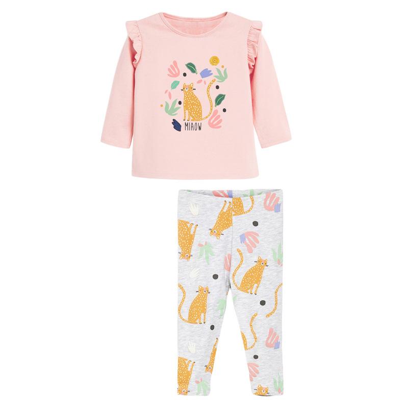 Girls  Autumn Sets Printed Cat Long Sleeve Children's Suit