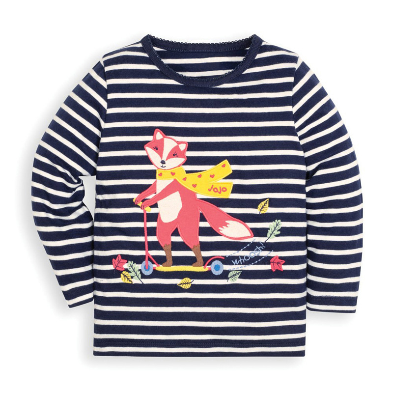 Girls Striped Fox Sweater Autumn Round Neck Long Sleeve Girls Grey Sweatshirt