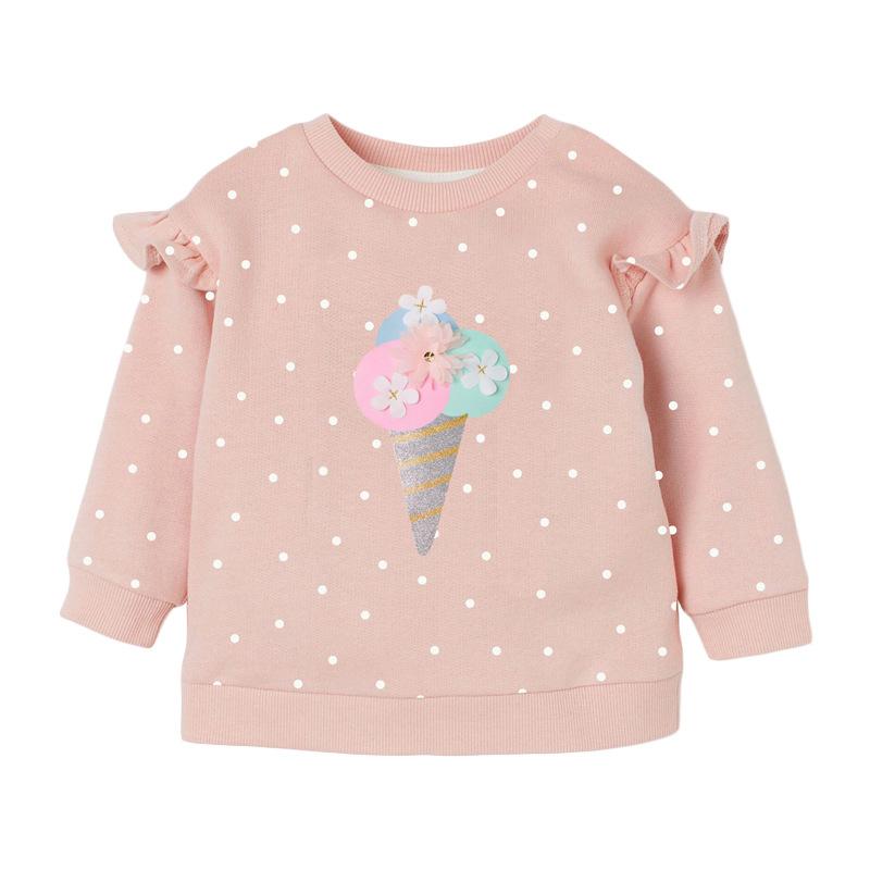 Girls Polk Dot Sweater Autumn Round Neck Long Sleeve Girls Pink Sweatshirt