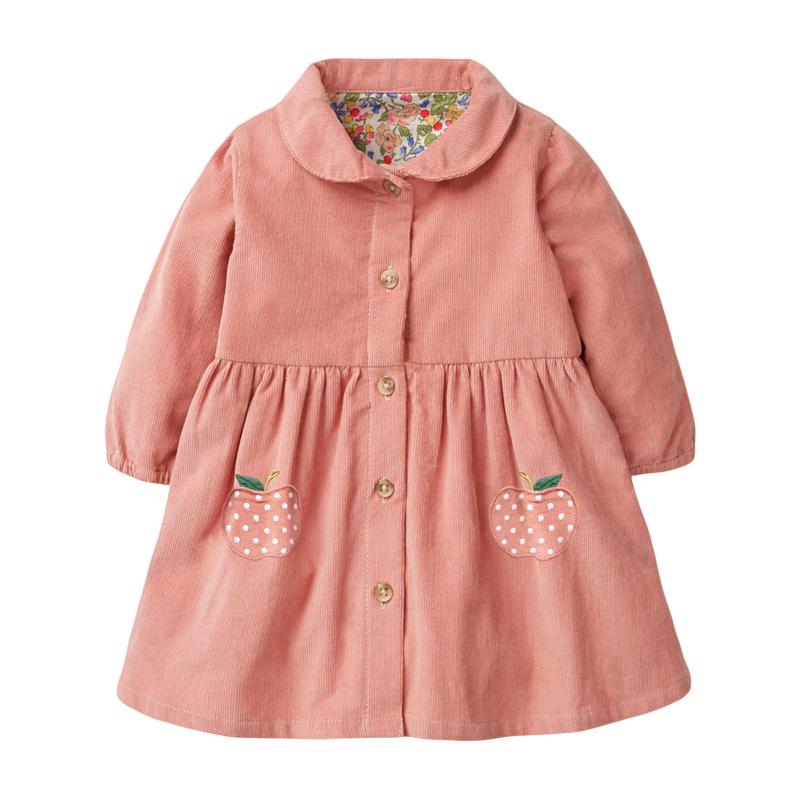 Girl A-line Wick Velvet  Dress Autumn Long-sleeved Apples Prints Girl Dress