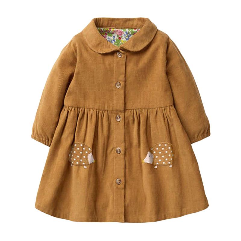 Girl A-line Dress Wick Velvet Autumn Long-sleeved Hedgehog Prints Girl Dress