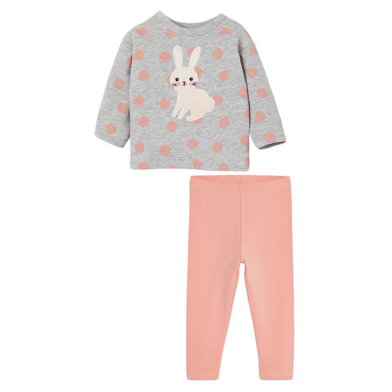 Autumn Girls Set Rabbit Polka Dot Long Sleeve Children's Set
