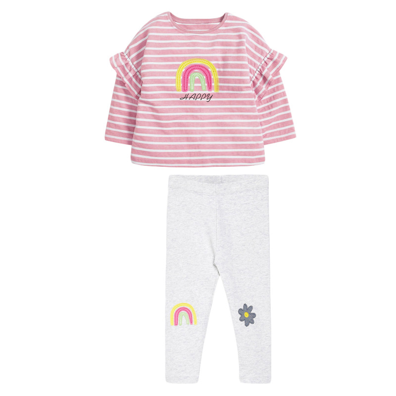Girls Set Striped Colored Long Sleeve Girl Suits