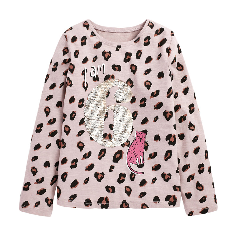 Girl Leopard T-shirt Round Neck Long-sleeved