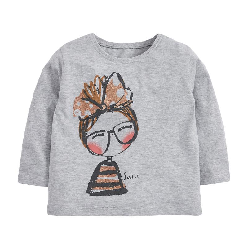 Girls  fashion Sweater Autumn Round Neck Long Sleeve Girls Grey Sweatshirt
