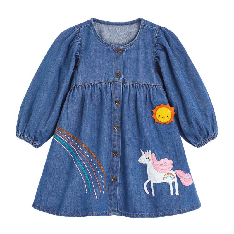 Unicorn Autumn  Long-sleeved Girls Denim Dress