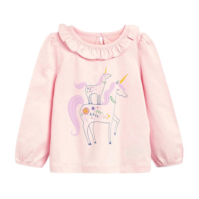 Girl Unicorn T-shirt Round Neck Long-sleeved