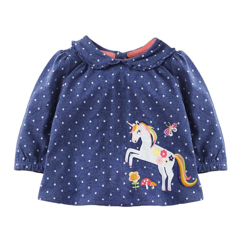 Autumn Girl Sweatshirt Blue Dot Printed Long-sleeved Children's Sweater