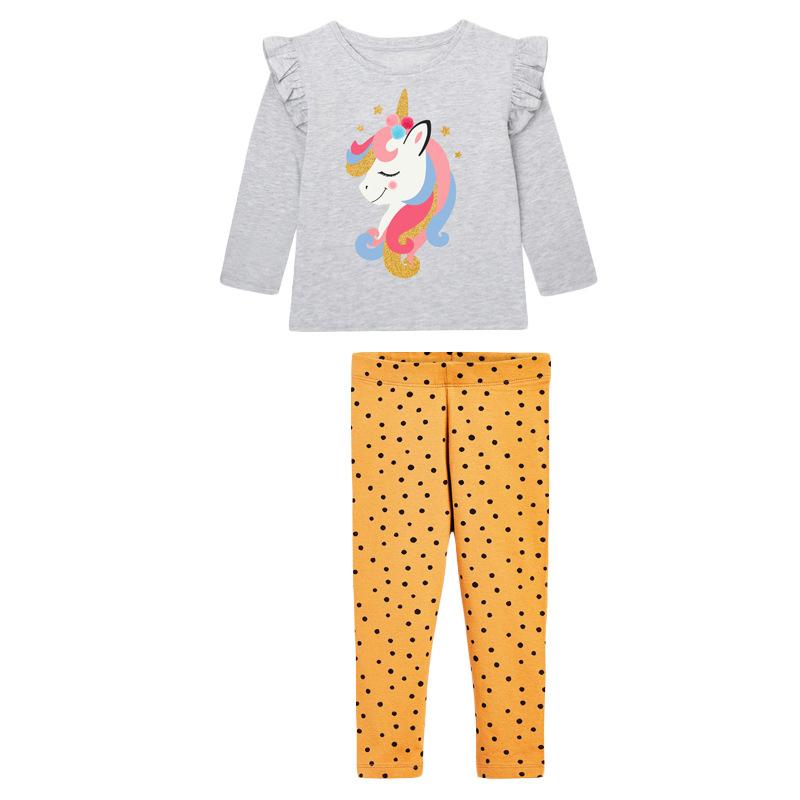 Autumn Girl Set Unicorn Printed Long-sleeved Children's Suit