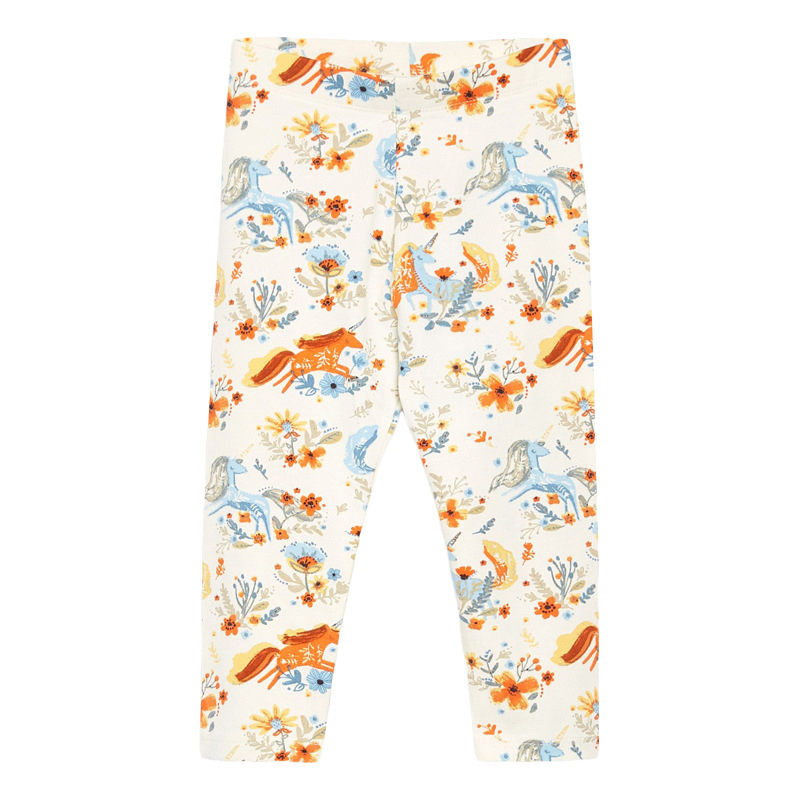 Girls Elastic Trousers Unicorn Printed Autumn Girls Leggings
