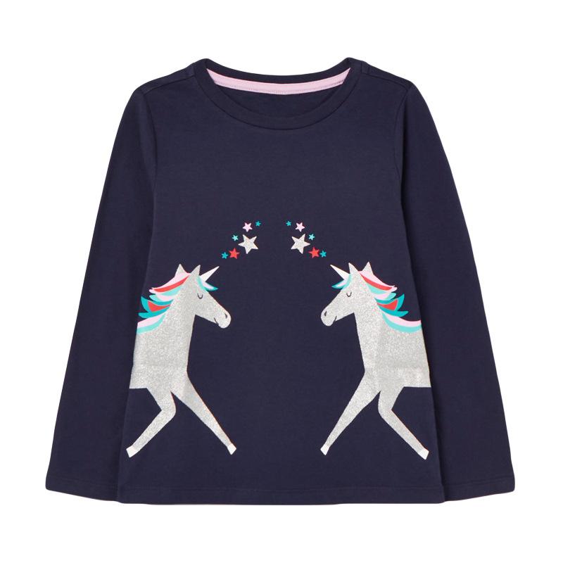 Girls Unicorn Blue Sweater Autumn Round Neck Long Sleeve Girls Grey Sweatshirt