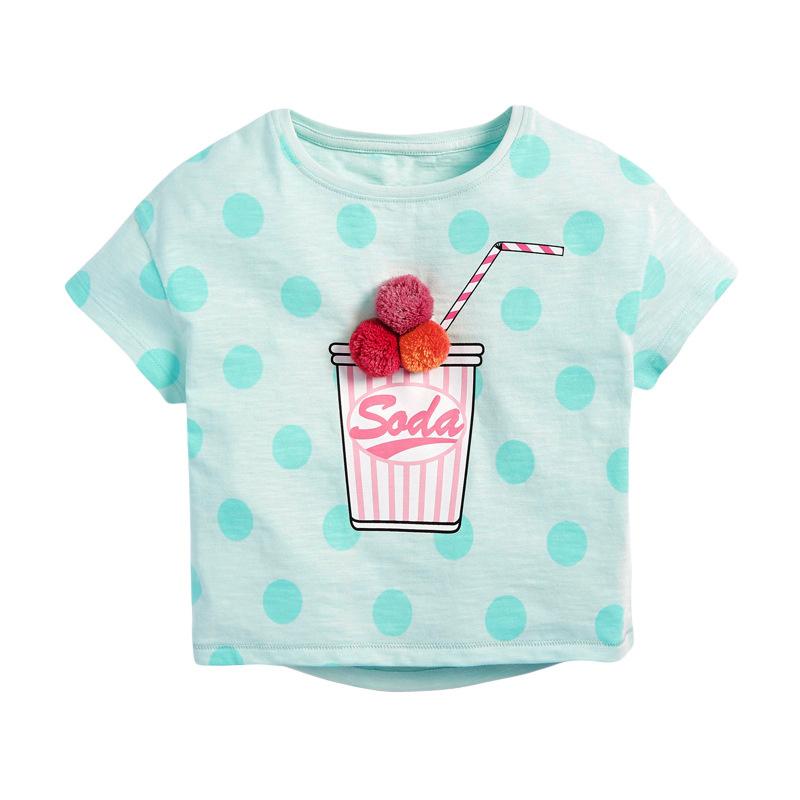Girls Short Sleeves T-shirt Printed Juice Cup