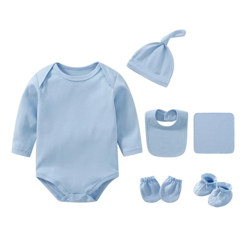 6PCS Newborn Baby Bodysuit Set with Hat,Bib, Socks, Gloves (Copy)
