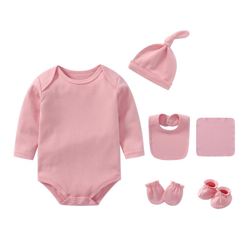 6PCS Newborn Baby Bodysuit Set with Hat,Bib, Socks, Gloves