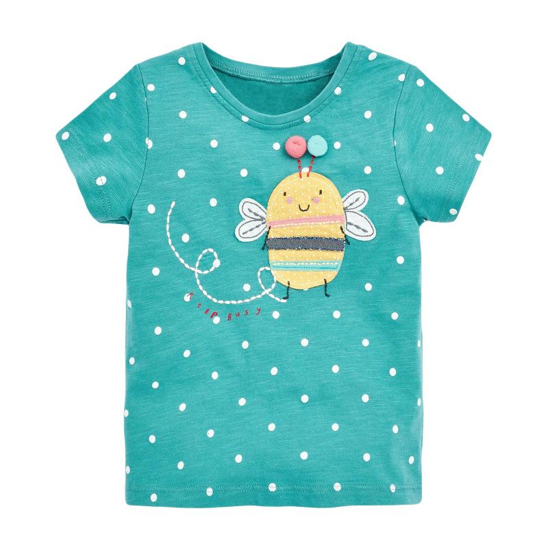 Girls Short Sleeves  T-shirt  Polka Dot Tops Printed Bee